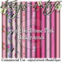 Spring Birdhouse Pink Background Papers CU