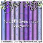 Spring Birdhouse Purple Background Papers CU