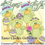 Easter Chickey Girl Green CU