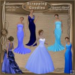 Ladies in Elegant Blue Gowns CU