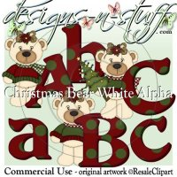 Christmas Bear White Girls Alpha CU