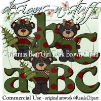 Christmas Bear Girls Dark Brown Alpha CU