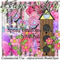 Spring Birdhouse Pink Scrap Kit CU