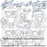 Halloween Owls Digital Stamps Semi-Exclusives 4