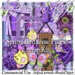 Spring Birdhouse Purple Scrap Kit CU