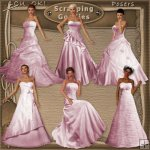 Ladies in Elegant Pink Gowns CU