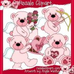 Tattered Teddies Valentines Pink CU