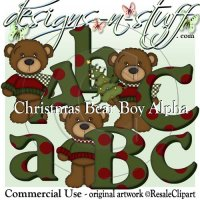 Christmas Bear Boys Alpha CU