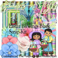 Easter Blessings Black Scrap Kit CU