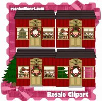 Christmas Red Cottage CU