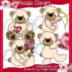 Tattered Teddies Valentines White 1 CU