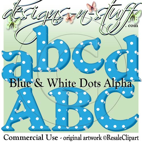 Christmas Blue and White Dots Alpha CU