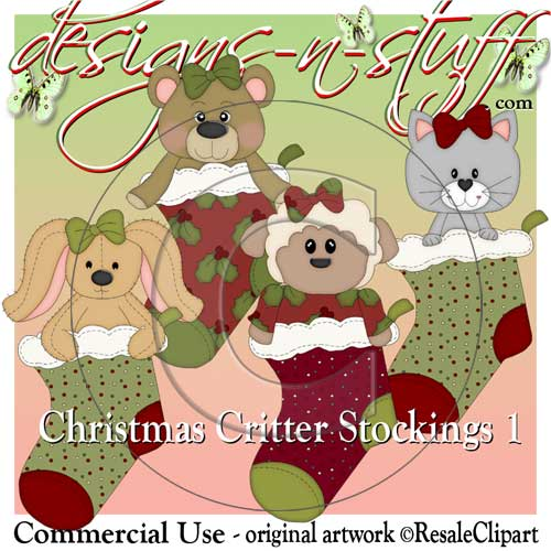 Christmas Critter Stockings 1 CU - Click Image to Close