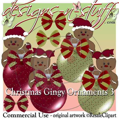 Christmas Gingers Ornaments CU - Click Image to Close