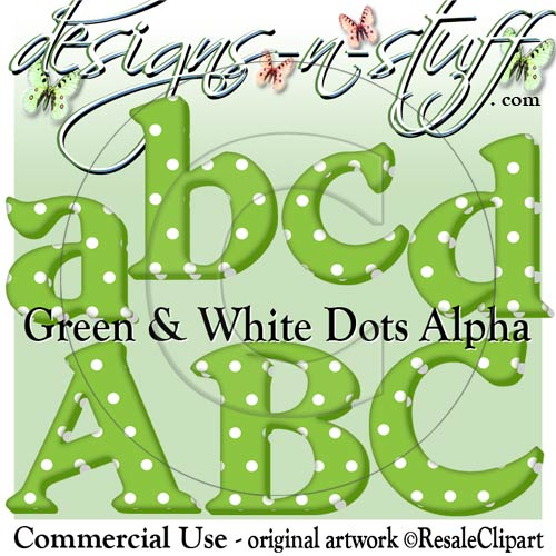 Christmas Green and White Dots Alpha CU - Click Image to Close