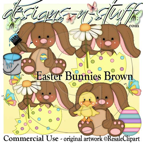 Easter Bunnies Brown CU - Click Image to Close