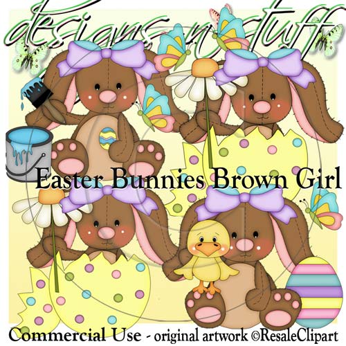 Easter Bunnies Brown Girl CU