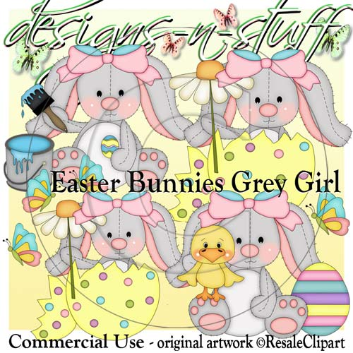 Easter Bunnies Grey Girls CU