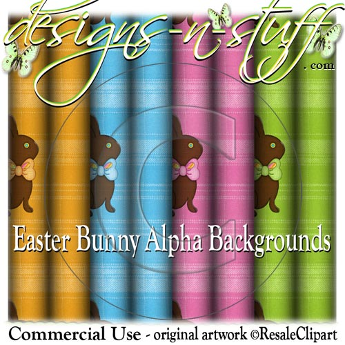 Easter Bunny Alpha Backgrounds CU