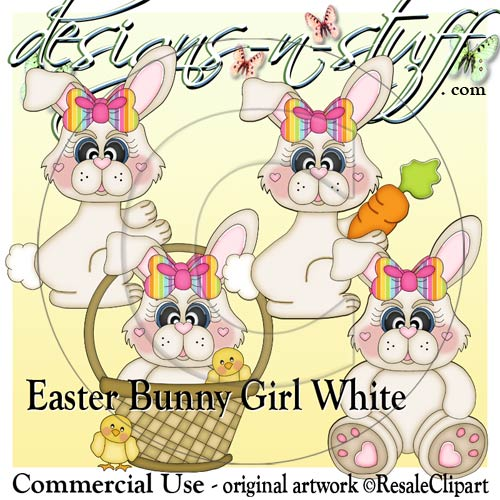 Easter Bunny Girl White CU