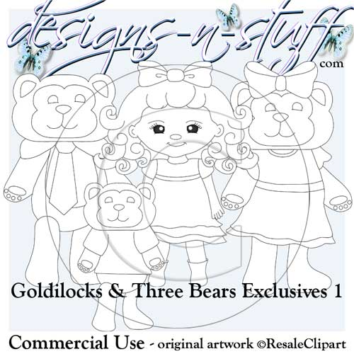 Goldilocks and Three Bears Digital Stamps Exclusives 1