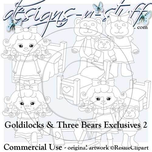 Goldilocks and Three Bears Digital Stamps Exclusives 2