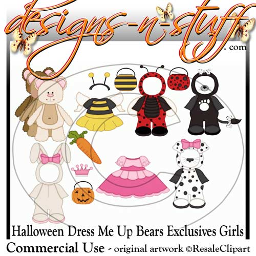 Halloween Dress Up Bears Girls Clipart Exclusives