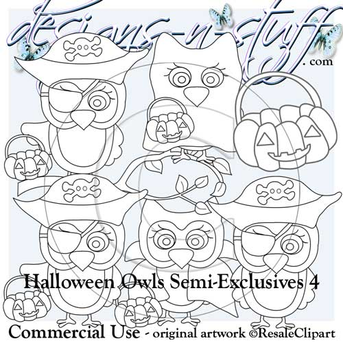 Halloween Owls Digital Stamps Semi-Exclusives 4