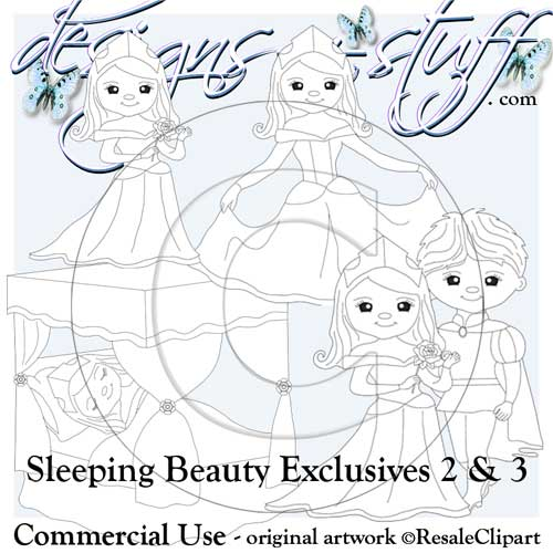 Sleeping Beauty Digital Stamps Exclusives 2 & 3 - Click Image to Close