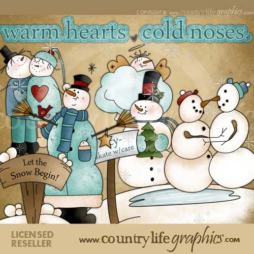 Snowman Warm Hearts Cold Noses CU